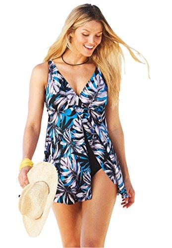 Swim 365 Women's Plus Size Split Front Swim Dress Royal Palm,14