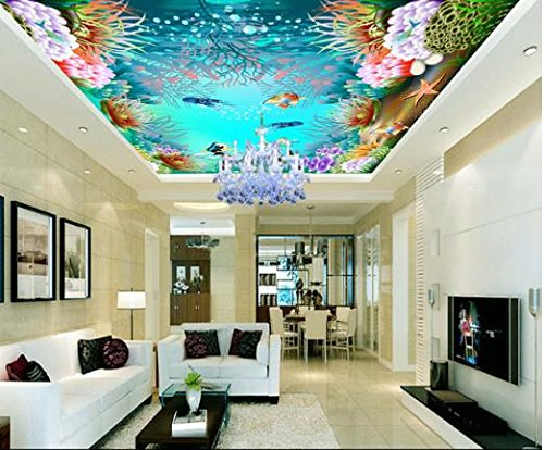300cmX250cm 3D Underwater World Hotel KTV zenith roof ceiling mural wallpaper by ZLJTYN