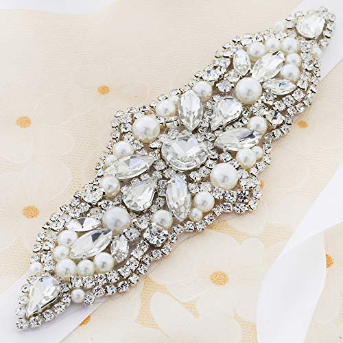 (Rhinestone Applique for Wedding Dress, FANGZHIDI Silver Crystal Beaded Trim Patch with Pearls and Clear Stones Chain. Pefect for DIY on Bridal Belt Sash, Wedding Cake Decoration, Flower Girl)