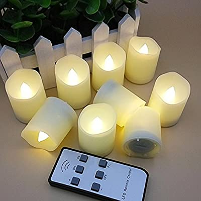 LAPROBING 9 Pcs Battery Operated LED Votive Tea Lights Candles Flameless Candles with Remote Control Extended Light Time Dimmable for Birthday Parties Weddings Festivals Decorations Christmas