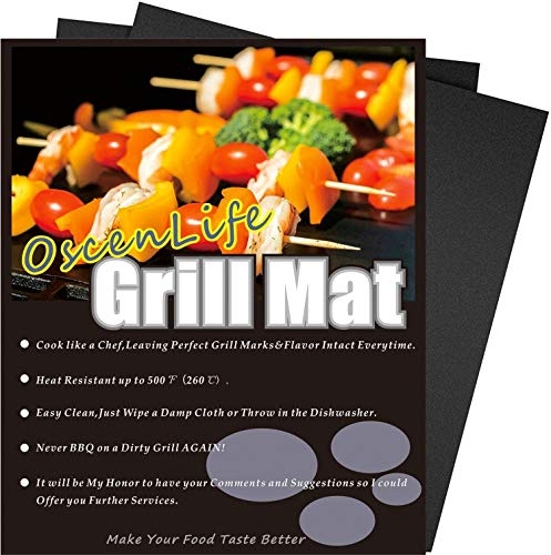 OscenLife BBQ Grill Mats - Non Stick Baking & Grilling Mats - Heavy Duty, Reusable,Easy to Clean - 3 Year Warranty (2 Pack -13 x 16inch)