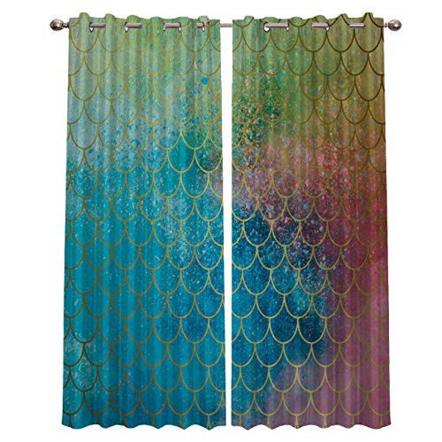 Darlicent Blackout Draperies Curtains Panels - Thermal Insulated Grommet Window Curtain Treatments for Living Room Bedroom Kitchen, Gorgeous Starry Fish Scale Textured (40 x 63 Inch, 2 ()