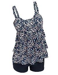 Ecupper Womens Plus Size Tankini Set Two Pieces Swimsuit Ruffle Bathing Suit with Boyshorts