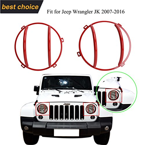 Kitty Party 2 X (Red) Front Headlight Guards For Jeep Wrangler JK Car Vehicle Parts Accessory 2007-2016