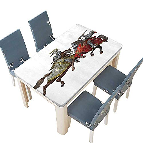 PINAFORE Spillproof Fabric Tablecloth Middle Age Fighters Knights with Costume Renaissance Period Kitchen Decoration Washable W33.5 x L73 INCH (Elastic Edge)