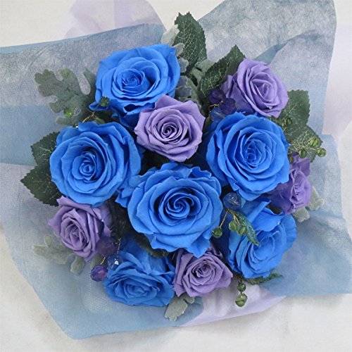 枯れない花 プリザーブドフラワー 花束(誕生日記念日お祝いプロポーズ等に最適) (ソーダブルー) B01MUIWAK3 ソーダブルー ソーダブルー