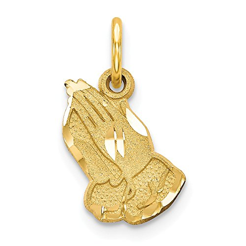 14k Yellow Gold Praying Hands Pendant Charm Necklace Religious H Fine Jewelry Gifts For Women For - Praying Charm 14k Hands