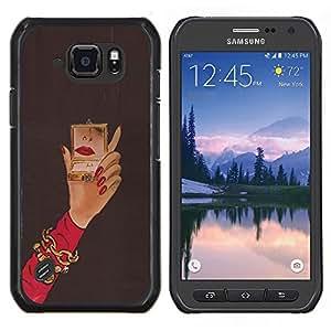 Stuss Case / Funda Carcasa protectora - Michael Espejo Mujer Red Nails Mano - Samsung Galaxy S6 Active G890A