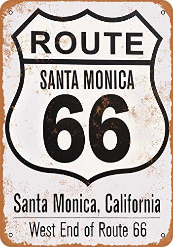 (Wall-Color 7 x 10 Metal Sign - Santa Monica Route 66 End - Vintage)