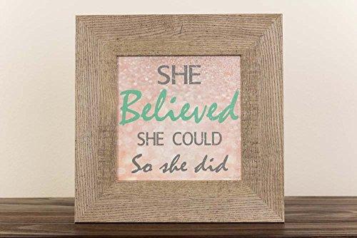 She Believed She Could So She Did Girl's Inspirational Framed Art Barnwood Glittered 12x12
