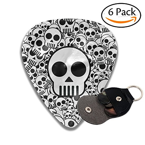 C-Emily Skulls 351 Shape Classic Guitar Picks (6 Pack) For Electric Guitar, Acoustic Guitar, Mandolin, And Bass (Thin, Medium, Heavy)