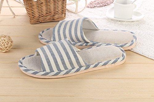 Lin Bleu Sandales Intérieure Confortables Maison Minetom Coton Classique Chaussons Femme foncé Pantoufles rayure Hommes W1gw7Ypq