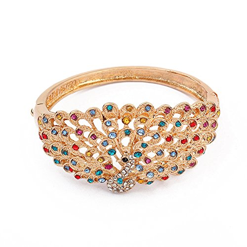 The Starry Night Gold Plated Drip Colour Lifelike Peacock Lobster Clasp Bangle Bracelet for Womens Girls (Anna Costume Cookie)