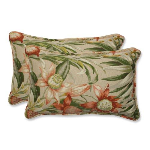 Pillow Perfect Rectangular Outdoor Botanical Glow Tiger Stripe Throw Pillow, Set of 2 by Pillow Perfect
