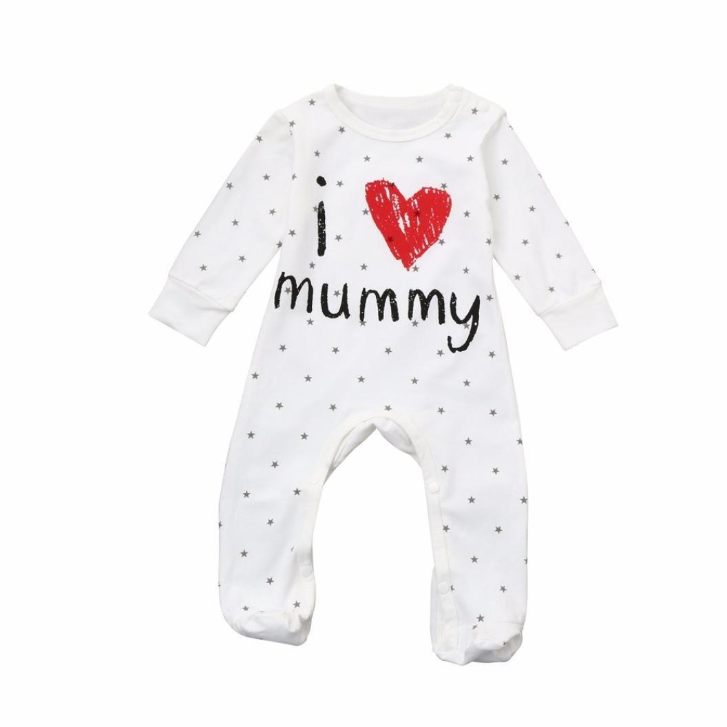Lisin Baby Girls Infant Letter Print Jumpsuit Romper Long Sleeve Clothes