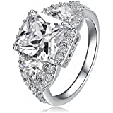New Fashion Plated 18k White-gold Diamond Ring Engagement Ring Wedding Rings for Women Jewelry
