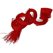 SODIAL(R) Curtain cord beaded wire fringe door window curtain veiling 200x100cm Red