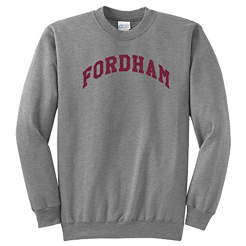 Campus Merchandise NCAA Fordham Rams Arch Classic Crewneck Sweatshirt, Small, Light Heather Grey