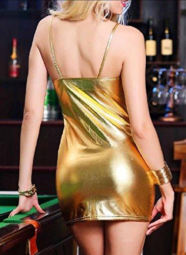 Da Donne Vestito Partito Onniscienti Zippato Delle Lingerie D'oro Mini Club Ecopelle Pqa1wqd