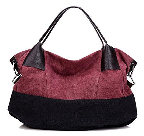 Longzibog Dual verstellbare Schultergurte und Hängeschlaufenband Mode Simple Style Fashion Tote Top Handle Schulter Umhängetasche Satchel Rot
