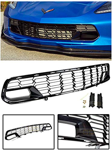 Extreme Online Store for 2014-Present Chevrolet Corvette C7 No Camera Models | EOS Factory Z06 Style Painted Carbon Flash Metallic Front Bumper Lower Grille Guard Cover