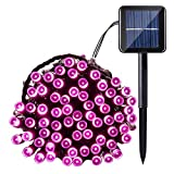 Qedertek Solar String Lights, 40ft 100 LED Waterproof Outdoor Decoration Lighting for Indoor/Outdoor, Patio, Lawn, Garden, Christmas, and Holiday Festivals (Pink)