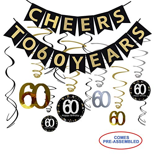 60th Birthday Party Decorations Kit - Cheers to 60 Years Banner, 12Pcs Sparkling 60 Hanging Swirl Decorations, Perfect 60th Anniversary Decorations 60 Years Old Party Supplies. ()