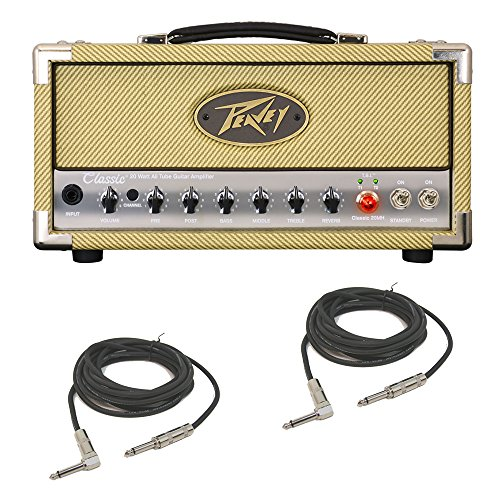 Peavey Classic 20 MH Mini Head Electric Guitar 20W Tube Amp Head & Cables (Renewed)