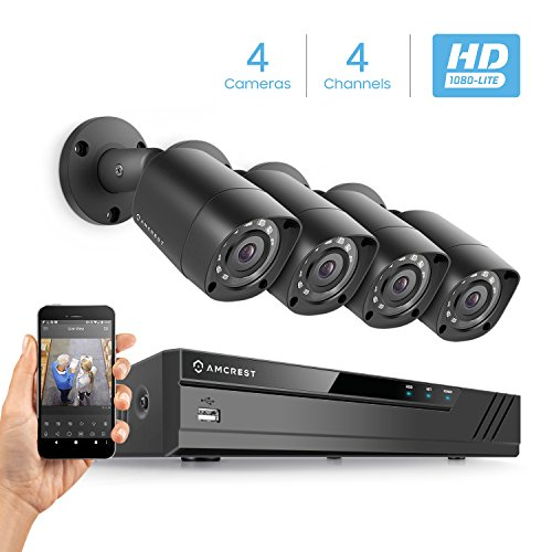 Amcrest HD 1080P-Lite 4CH Video Security Camera System w/ Four 1280TVL (720P) IP67 Outdoor Cameras, 65ft Night Vision, HDD Not Included, Supports AHD, CVI, TVI, 960H & IP Cameras (AMDVTENL4-4B-B)