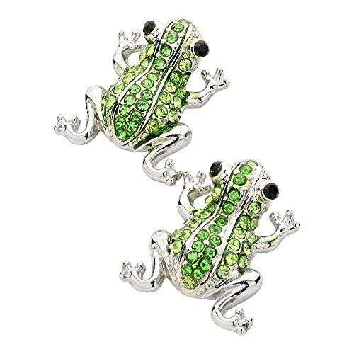 - Liavy's Frog Fashionable Earrings - Stud - Sparkling Crystal - Green (Rhodium Plated)