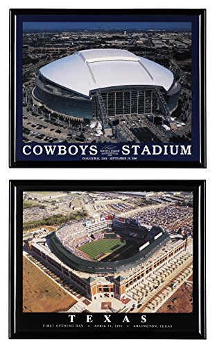Dallas Cowboys Football AT&T Stadium and Texas Rangers Baseball Texas Rangers Ballpark in Arlington - Set of 2