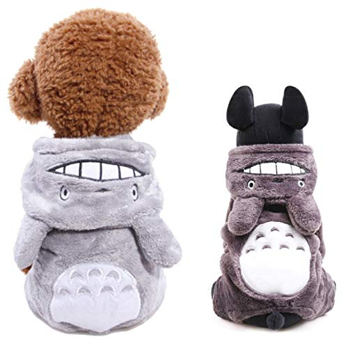 CheeseandU Pet Totoro Costume Thick Soft Flannel Clothes Small Dog Cat Super Cute Totoro Four Legs Pajama with Hood Puppy Hoodie Coat Jumper Clothing Apparel for Small Medium Dog Puppy Cat, Grey