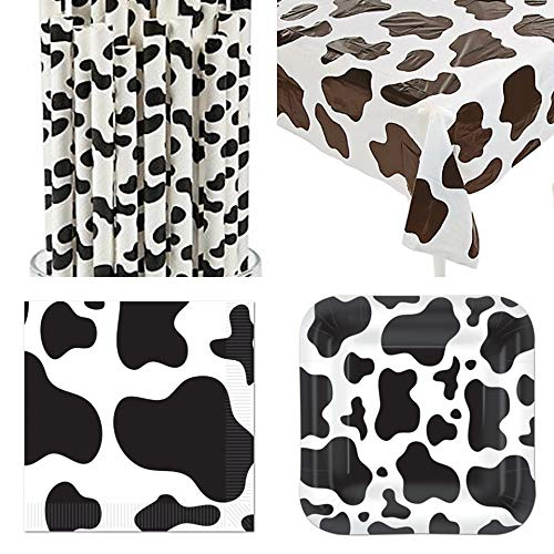 HAPPY DEALS ~ Cow Party Tableware - 16 Plates - 16 Napkins - Table Cover - 24 Straws ()