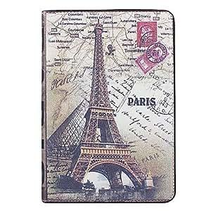 Estilo retro patrón de la torre Eiffel de la caja de cuero de la PU durable con soporte para iPad mini , Rojo