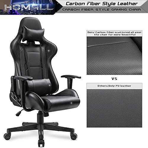 Homall Gaming Chair Carbon Fiber Style Design Pu Leather