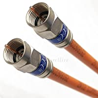 50ft DIRECT BURIAL UNDERGROUND 3Ghz RG-6 GEL Coat Flooded Coaxial Cable WEATHER SEAL ANTI CORROSIVE BRASS CONNECTORS Moisture & Soil Acidity Tolerance for Broadband Signal