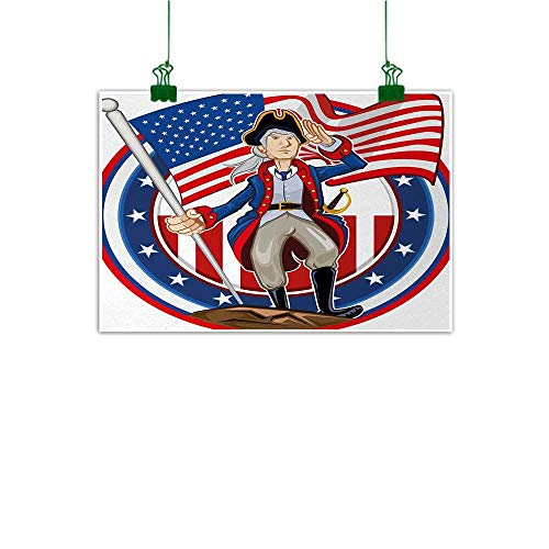 United States Wall Decor American Patriot Emblem Cartoon Style Fourth of July Design Country History for Sofa Wall Decoration No Frame Multicolor W 36