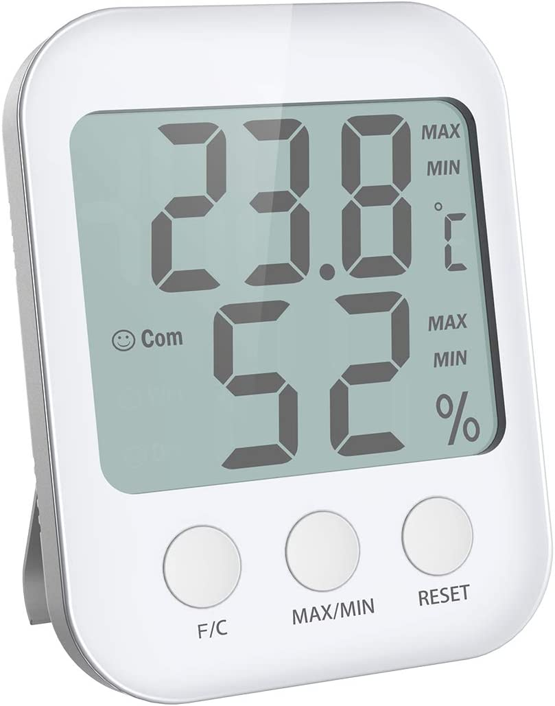 (New Version) Digital Hygrometer Thermometer, Indoor Thermometer with Humidity Monitor, Large Screen with Temperature and Humidity Meter, High Accuracy Thermometer Gauge for Home Office Greenhouse