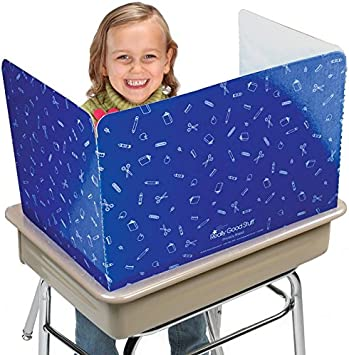 Set of 12 Gloss Really Good Stuff Large Privacy Shields for Student Desks Study Carrel Reduces Distractions Keep Eyes from Wandering During Tests Blue with School Supplies Pattern