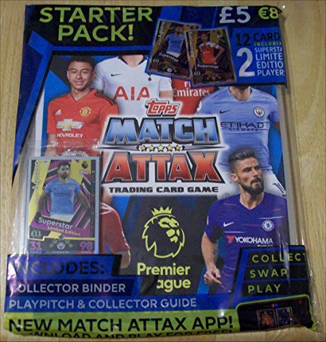 2018/2019 Topps ENGLISH PREMIER LEAGUE Match Attax Soccer Cards STARTER KIT. USA SELLER! Includes Binder (Album), Play Pitch, Rules and 12 Cards Including 2 Limited Edition Cards