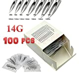 100 Body Piercing Needles Sizes 14 Gauge, Sterilized Disposable Packaging with Sterilizer Bag
