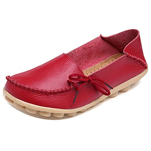 Loafer Boat On Solid Moccasin Driving Red and Women Shoes LONSOEN Slip Flats Leather Casual XTPw0FX5q