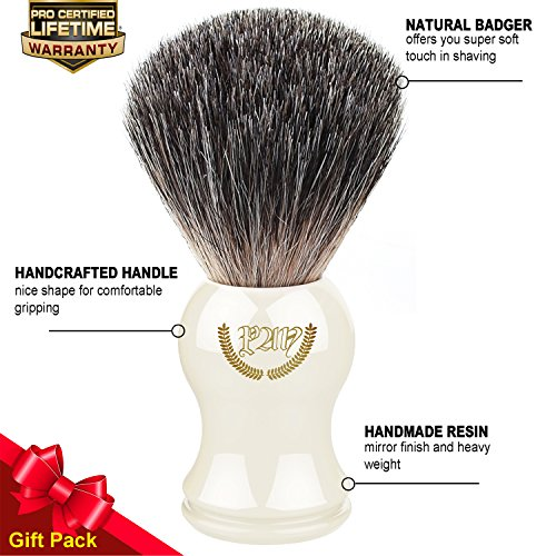 (Shaving Brush, 100% Pure Badger, Handmade Handle (Ivory). for All Methods,Safety Razor,Double Edge Razor,Straight Razor or Shaving Razor, its The Best Badger Shaving Brush.)