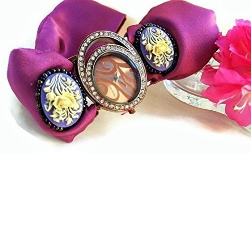 Homemade Female Costumes Ideas (Dark Pink Fashion Cuff Bracelet Women with Rose Cameo Decoration Oval Face Rhinestone Wrist Watch)