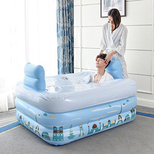 Bañeras Jacuzzis de Hidromasaje Adulto Azul Doble casa Inflable plástico baño Barril Engrosado cálido baño Plegable Cubo...