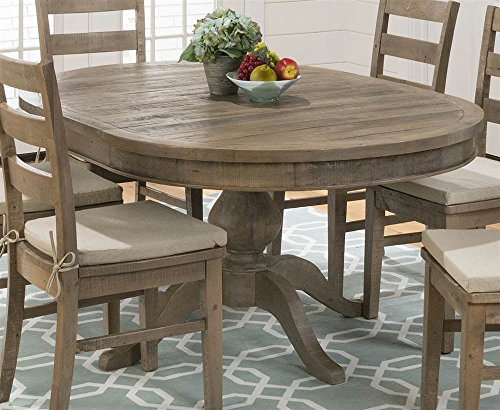- Round to Oval Dining Table in Brown