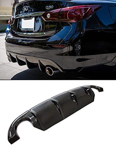 Fits for 2014-2017 Infiniti Q50 Sporty VIP Real Carbon Fiber Rear Bumper Diffuser -
