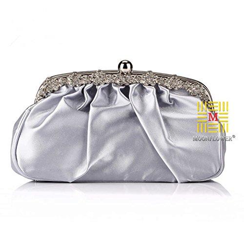 Satin For LIZHIGU Wedding Purses Handbags Pleated Bridal Clutches Silver Evening Women Bridesmaid Clutch Xd0drq