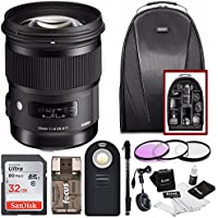Sigma 50mm F1.4 ART DG HSM Lens for CANON DSLR Cameras w/ Sigma USB Dock & 32GB Premium Travel Bundle