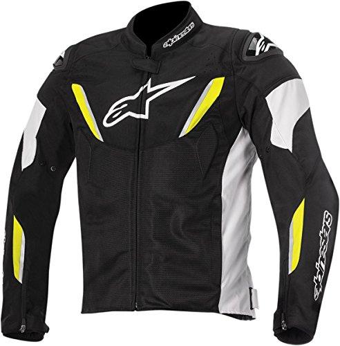 (Alpinestars T-GP R Air Textile Men's Riding Jacket (Black/White/Yellow, Medium))
